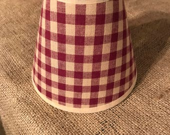 Red Checkered Gingham Farmhouse Candle Clip Shade
