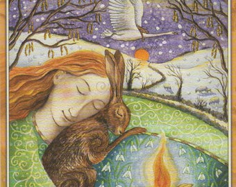 PAGAN Wiccan Greeting Card Dreaming of Spring Hare Goddess Celtic Blank Birthday Blank WENDY ANDREW