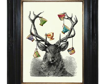 Deer Stag Hannibal Art Print Antlers Tea Cups Teacups - Victorian Steampunk Art Print Woodland Forest Surrealism Engraving