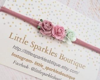 Pink hair bow, mint hair bow, flower headband, baby bow, baby headband, wedding hair, girls hair accessories