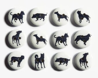 Dog Buttons (12 or 24) - Button Dogs - Puppies - Animal Buttons - 15mm Round Buttons - Doggy Buttons - Silohuette Dog - Buttons Cute Animals