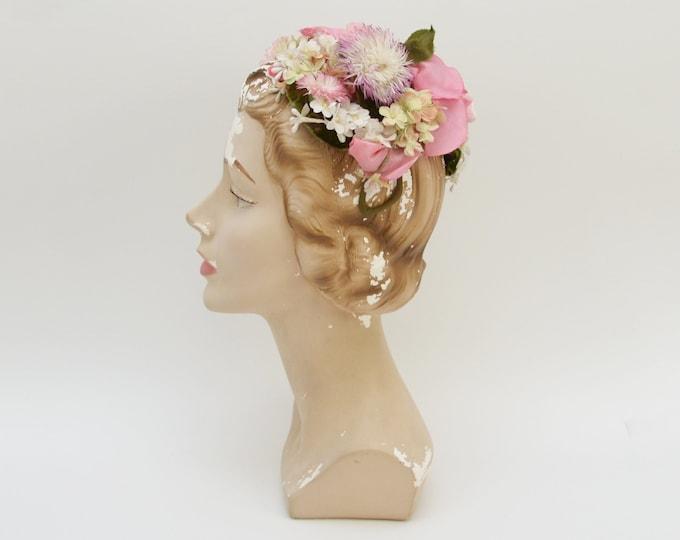 Vintage 1950s Garden Bouquet Floral Hat by Elizabeth Ford