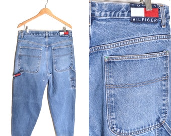 90s Tommy Hilfiger Baggy Painters Pants Jeans 36x32 Denim Relaxed Blue Distressed