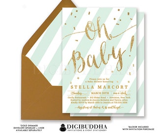 MINT & GOLD BABY Shower Invitations Oh Baby! Stripe Gold Glitter Calligraphy Boy Girl Gender Neutral Free Shipping or DiY Printable- Stella