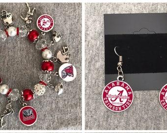 Alabama Crimson Tide Nationals Champions earring and Bracelet set