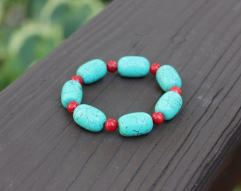 Turquoise and Red Coral Bracelet