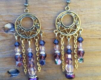 Gold and Purple Chandelier Earrings