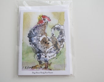 Rooster Greeting Card Chicken Watercolor Blank