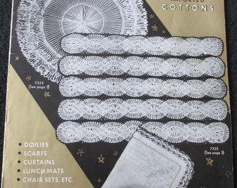 PB1 Vintage Hairpin Lace Ideas by BMC 1954 Doily Scarf Curtains+++ Pattern Book