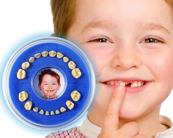 Baby Tooth Box >>Firsty Round<< (Blue, Boy)