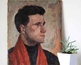 Vintage Midcentury Man in Red Portrait Oil Painting, Portrait Paintings