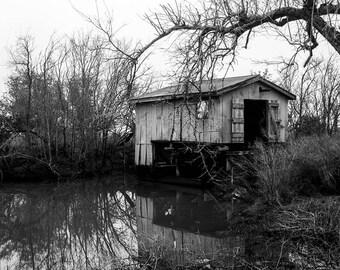 Louisiana Bayou, Gulf Coast Art Print, Boathouse Print, Cajun Decor, Black and White Louisiana Print, Swamp Photo Water Reflection Fine Art