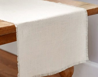 Linen Table Runner with Fringed Edge, Natural, 12-1/2-Inch, 10-Feet