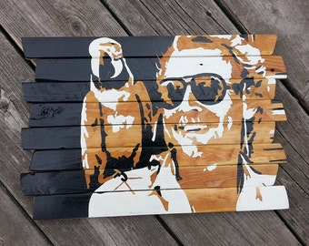 Jimmy Buffett painting on reclaimed wood sign - Margaritaville - fins up - parrothead