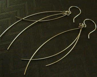 Sterling Silver Strands Earrings, Sterling Strand Earrings, Silver Strands Earrings