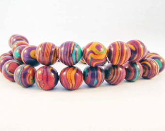 PDL151 - Set of 10 bead Abacus stone from Turkey to stripes purple brown yellow red Turquoise zebra pattern geometry