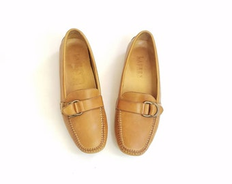 Vintage Womens 5 Ralph Lauren Loafers Tan Leather Slip On Monk Strap Oxfords Boat Deck Shoes Boho Natural Loafers