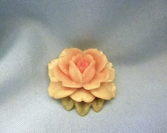 Vintage Molded Celluloid Plastic Rose Floral Pin - c1940s - Japan