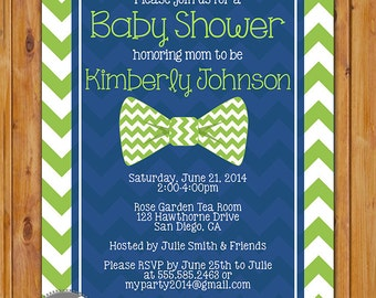Lime Green Little Man Bow Tie Baby Shower Invitation Lime Green Navy Blue Chevron Shower Invite 5x7 Digital Invite (228)