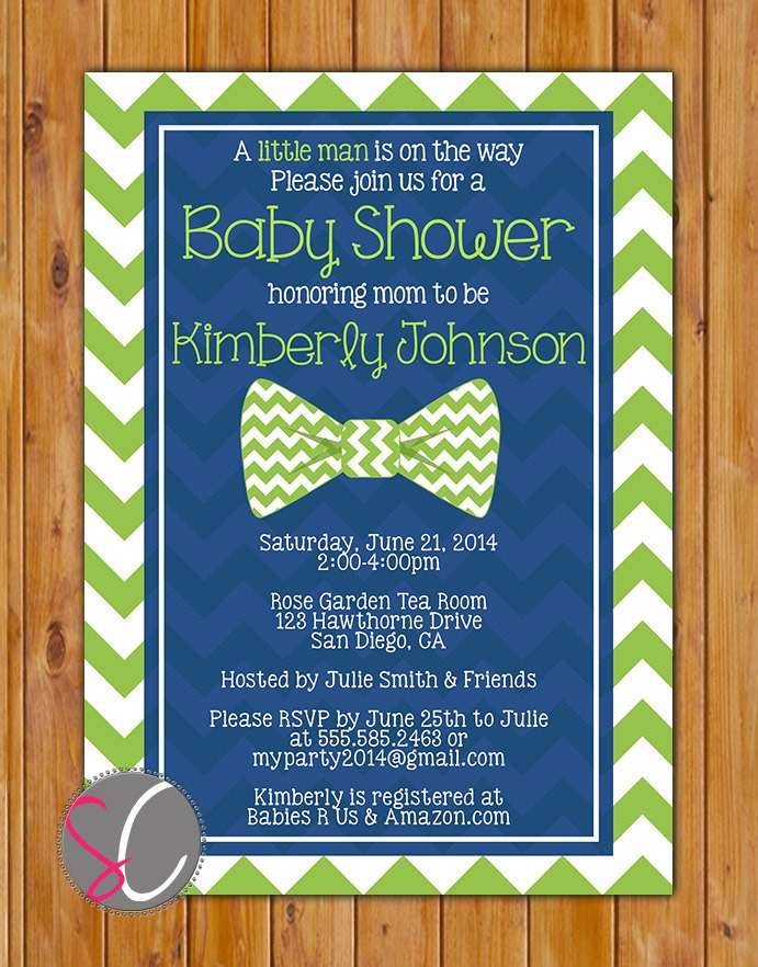 Lime Green Little Man Bow Tie Baby Shower Invitation Lime