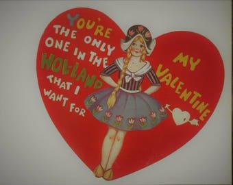 Vintage 30s Valentine Card Heart Dutch Girl Die Cut 1933 Sweetheart Ephemera Scrap Book