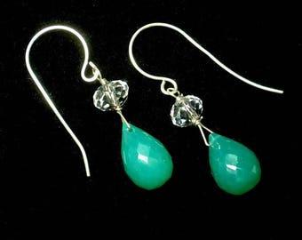 Emerald Green Drop Earring Green Gemstone Earring Green Briolette Earring Dainty Earrings Green Onyx