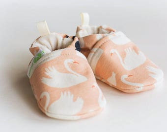Organic Knits Vegan Blush Swan/ All Fabric Soft Sole Baby Shoes / Made to Order