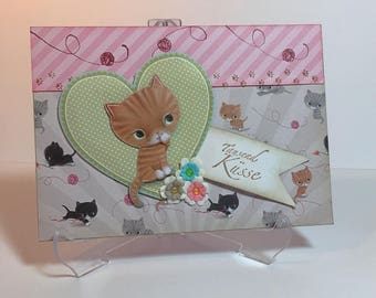 Card for Cat friends, greeting card, greeting cards, handmade, birthday, anniversary, congratulation, Mother's Day, saying, birthday card, cat