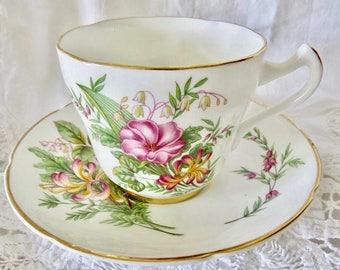 Royal Grafton Pink Tea Cup and Saucer, Vintage  Fine Bone China