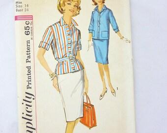 Simplicity 4957 Shirt Jacket Skirt Misses Size 14 Bust 34 UNCUT