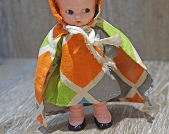 Vintage 1950s Hard Plastic Knickerbocker Girl Doll Glendale CA with Kewpie Eyes & Mary Janes