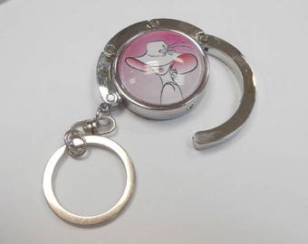 1 bag hook with key ring with a glass cabochon 30 mm