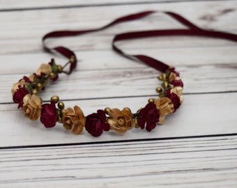 Handcrafted Burgundy and Gold Flower Crown - Rose Flower Halo - Small Flower Crown - Wedding Accessory - Wine Wedding Flower Crown - Adult