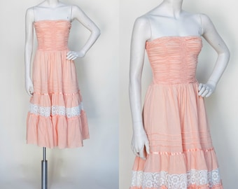 1970s Young Edwardian Peach Strapless Dress