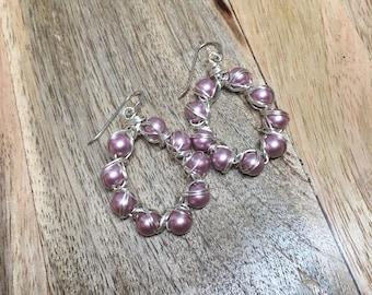 Drop Earrings - Wire Crocheted Earrings - Wire Wrapped Swarovski Rose Pearl Earrings