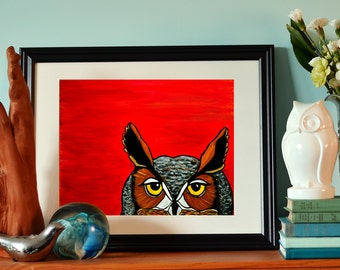 "Great Horned Owl, peaking - 11x14"" limited edition print"