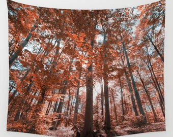 forest wall tapestry, oversized wall art, forest tree tapestry, bohemian wall tapestry, nature zen autumn red trees branches