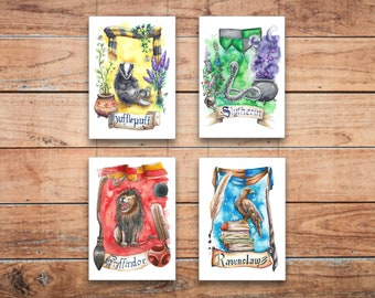 Set of four art prints Hogwarts Houses crest animals