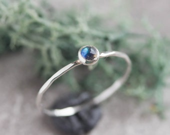 Labradorite ring - skinny stackable ring with rose cut Labradorite stone, sterling silver, 9k gold