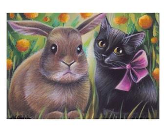 Black Cat & Bunny Spring Original Painting 7x5