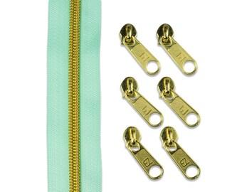 2 m endless zipper divllisiert mint/gold + 6 zipper (4, 75 EUR/Meter)