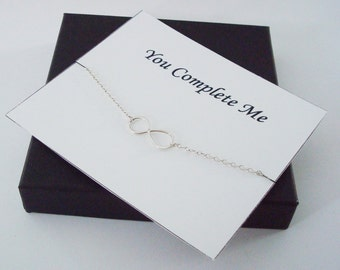 Infinity Sterling Silver Necklace ~~Personalized Jewelry Gift Card for Friend, Best Friend, Sister, Bridal Party, Mom, Weddings, Wife