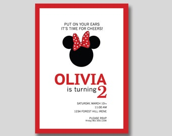 Minnie Mouse Birthday Invitation - Custom DIY Printable