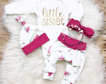Organic Baby Girl Clothes Newborn Baby Girl Outfit Coming Home Outfit Little Sister Outfit Take Home Outfit Watermelon Outfit  Euro Print