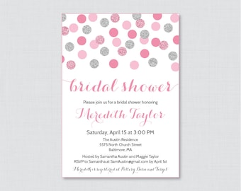 Pink and Gray Bridal Shower Invitation Printable or Printed - Pink and Silver Glitter Dots Bridal Shower Invites, Silver Glitter 0001-S