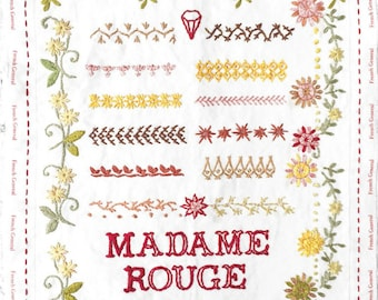FRENCH GENERAL Madame Rouge Embroidery Sampler hand stitching at thecottageneedle.com
