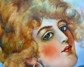 GIBSON GIRL Limoges Victorian Portrait Hand Painted Porcelain Charger - 1900