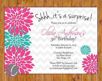 Surprise Birthday Party Celebration Invitation Pink Teal Floral Burst 21st 30th Milestone Adult Birthday 5x7 Digital JPG DIY Printable (251)