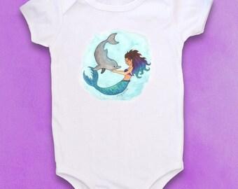 Mermaid baby, Dolphin baby, Cute baby bodysuit, Mermaid baby clothes, Beach baby, Baby girl gift, Merbaby, Dolphin