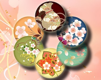 Simply Sakura (2) Digital Collage Sheet - Circles 1inch - 25mm or smaller - Vibrant Trendy Cherry Blossoms - Buy 3 Get 1 Extra Free